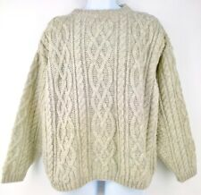 Doogan Donegal Irish Fisherman Sweater Aran Knit Cable Oatmeal Natural Wool M