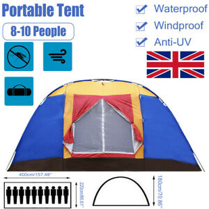 8-10 Man Family Tent Waterproof Outdoor Camping Garden Party Large Room Hiking