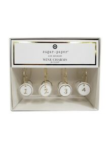 Sugar Paper Los Angeles Wine Charms Set 8 Numbered Gold White Porcelain Target