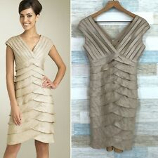 Adrianna Papell Shutter Pleat Satin Dress Gold Mother Of Bride Groom Womens 6P