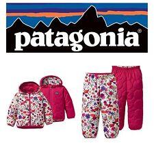 NWT $158 PATAGONIA Baby Girl's REVERSIBLE PUFF-BALL JACKET & PANTS SET NB-3M