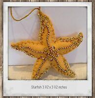 Starfish  Felt Ornament Hand Sewn Beaded Sequined beach decor Christmas Ornament