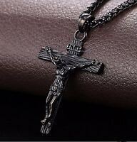 NUEVO Jesús cruz collar colgante cadena trenzada acero inox. Dorado Regalo