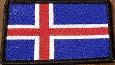 ICELAND Flag Patch With VELCRO® Brand Fastener Black Border