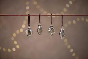 4 Antique Smoke Grey Leaf Hanging Baubles, Rustic Christmas Decor Bhara Nkuku