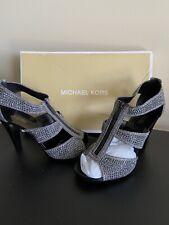 Michael Michael Kors Berkley T Strap Anthracite Sandals Shoes Size 8.5
