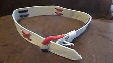 70's Vintage Leather Belt White Blue and Red Suede X's 31 in by 1.5 wide