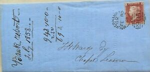 GREAT BRITAIN 1858 ENTIRE LETTER COVER WITH WOLVERHAMPTON SIDEWAYS POSTMARK
