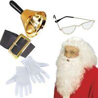 Professionnel Santa Claus grotte set GOLD BELL spectacles gants blancs perruque barbe