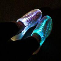 Sneakers Unisex LED Fiber Optic Shoes Light Up USB Recharge Girls Boys New