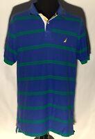 Nautica Brand Blue Green Striped Stitched Logo Short Sleeve Size XL Polo Shirt
