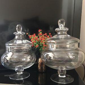 Traditional Vintage Squat Glass Bonbon jars WEDDING PARTY FOOTED Glass SWEET JAR
