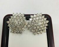 1.75ct Round Cut Diamond Cluster Omega Back Earrings In 14k White Gold Finish