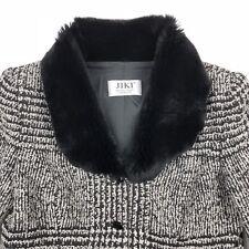 Jiki Monte Carlo France Women's Wool Jacket Coat Fur Black White • Size 42
