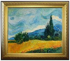 Framed Hand Painted Oil Painting, Van Gogh Field with Cypresses Repro, 20x24in