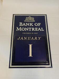 Vintage Bank Of Montreal Metal Advertising Perpetusl Wall Calendar w/cards