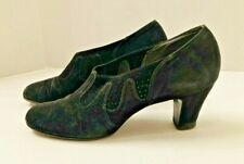 Vintage 1930s suede shoes, black with vented inserts