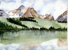 MOUTAINS Still Life Original Watercolor Realism Art Painting