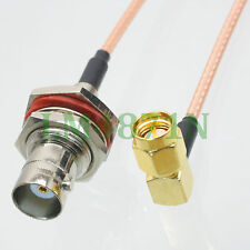 "cable BNC female bulkhead jack to SMA male plug right angle RG316 6"" pigtail"