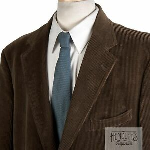 Vintage 90s BROOKS BROTHERS Sport Coat 45 R in Pecan Brown Cotton Corduroy USA