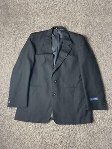 John Henry VINTAGE Mens 40R Dark Gray Wool Tweed Lined USA Made Blazer Jacket
