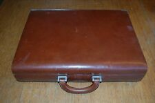Tumi Brown Leather Hard Briefcase Pewter Combo Side Locks VTG