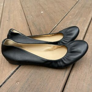 J. CREW Size 7.5 Black Leather Ballet Flats Scrunch Shoes Soft Supple Pull On