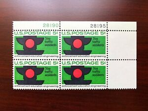 US #1272 Plate Block of 4 Traffic Safety Signal Mint NH