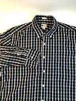 J Crew Mens Shirt Cotton Plaid Long Sleeve  Blue Size L