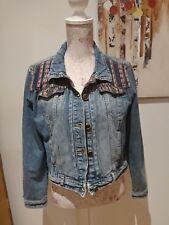 denim blazer jacket with aztec pattern size 14-16 in vgc