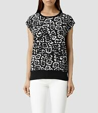 All Saints Top UK 4 6 8 XS New With Tags Black Strata Felix Silk Panel RRP £128