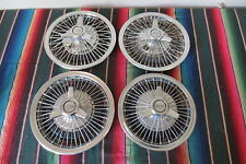 """Set OEM 1964 1965 1966 Chevy Impala 14"""" Wire Spoke Spinner Hubcaps Wheel Covers"""