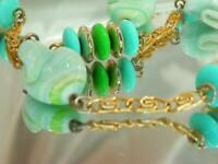 Gorgeous Vintage 50's Blue Green Givre Art Glass Gold Tone Chain  Necklace 172M0