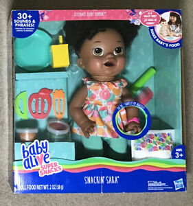 """Baby Alive Super Snacks """"Snackin' Sara"""" African American Doll.  Bilingual,  NEW"""