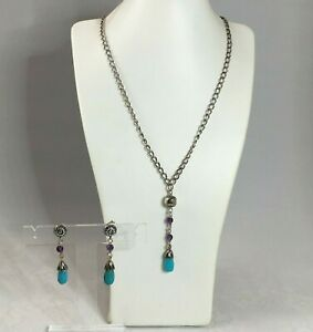 South Western Necklace & Earring Set with Turquoise & Amethyst - Sterling Silver
