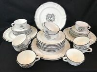 Black White Pottery Dinnerware Armour Shield 31 Pc Dishes Set Crest Rooster Mark