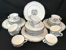 Masculine Black White Armour Shield 31 Pc Pottery Dinnerware Dishes Set