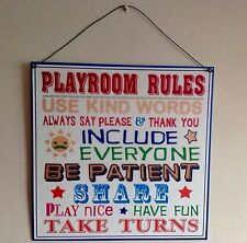 Playroom Wall Sign Metal Slogan Toy room Plaque Rules Vintage Sign 28 x 28 cm