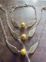 Harry Potter The Deathly Hallows Golden Snitch Style Angel Wings Jewellery