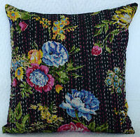 "16"" Kantha Stitched Pillow Cushion Cover Throw Ethnic Decorative Indian Textile"