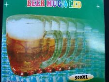LED Beer Mug - 16 oz. Clear Plastic Flashing Barware with Removable Lights