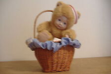 ~Baby Bear Wearing Sailor Hat In Wicker Basket~Anne Geddes~
