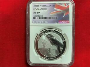 AUSTRALIA 2016-P $1 KOOKABURRA 1 OZ. .999 SILVER NGC MS-69 GEM BU