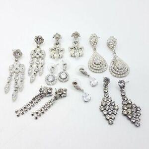 Rhinestone Post Earrings Assorted Lot 7 Pairs Costume Jewelry JM859