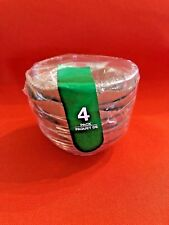4 Small Round Glass Stackable Prep Bowls 3.5 Inch Diameter, Baking, Dips, Salsa