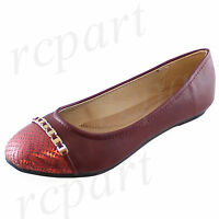 New women's shoes ballet flats synthetic material party casual comfort burgundy