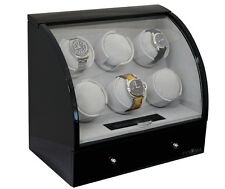 6 Automatic Six Watch Winder Wood Storage Rotator Box Black by Pangaea Q600