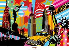 New York Taxi I Lobo Pop Art abstract Times Square Statue Liberty print poster