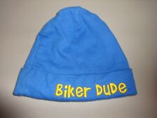 "Gerber 12 Mos Newborn Blue Yellow Hat Infant Baby Cap Hat ""Biker Dude"" Beanie"