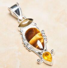 "Handmade Golden Tiger's Eye Gemstone 925 Sterling Silver Pendant 2.25"" #P07328"